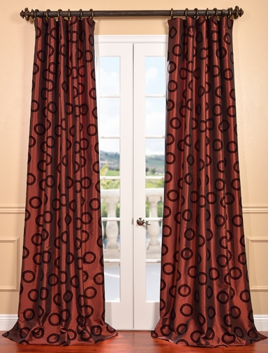DEAL BUSTER: 2-1 Luna Autumn Flocked Faux Silk Curtain