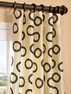Luna Winter Flocked Faux Silk Curtain