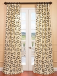 DEAL BUSTER: 2-1 Luna Winter Flocked Faux Silk Curtain