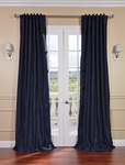Lunar Blue Vintage Textured Faux Dupioni Silk Curtain