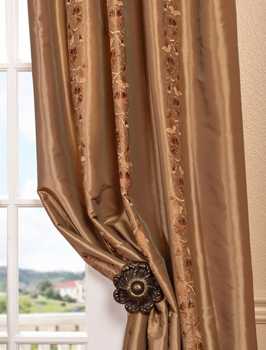 Luxembourg Bronze Embroidered Faux Silk Swatch