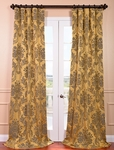 Magdelena Gold & Blue Faux Silk Jacquard Curtain