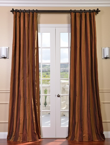Millazo Faux Silk Taffeta Stripe Curtain