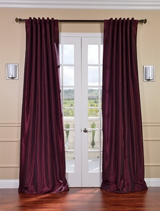 Mulberry Vintage Textured Faux Dupioni Silk Curtain
