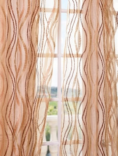 Alegra Gold Embroidered Sheer Curtain