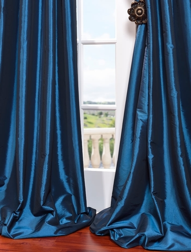 DEAL BUSTER: 2-1 Azul Faux Silk Taffeta Curtain