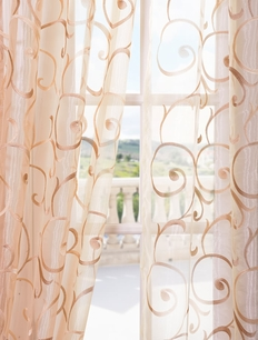 Bella Gold Embroidered Sheer Curtain