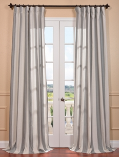 Bermuda Gray Linen Blend Stripe Curtain