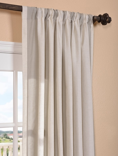 DEAL BUSTER: 2-1 Bermuda Stone Linen Blend Stripe Curtain