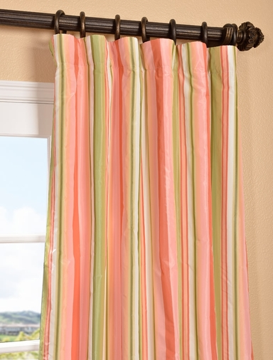 Bijoux Faux Silk Taffeta Stripe Curtain