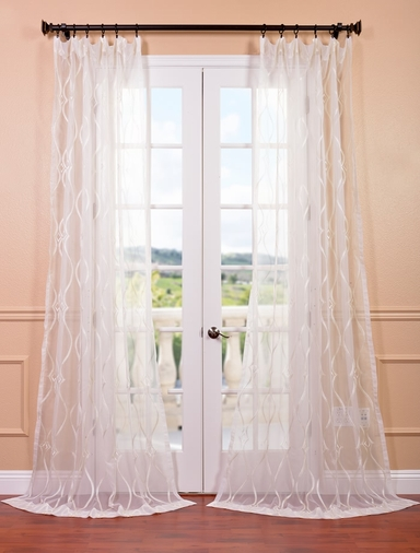 Contessa Creme Embroidered Sheer Curtain