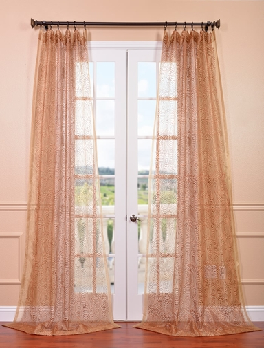 Esparanza Copper Embroidered Sheer Curtain