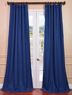 Estate Blue Heavy Faux Linen Curtain