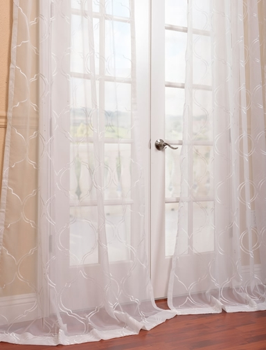 White Sheer Embroidered Curtains