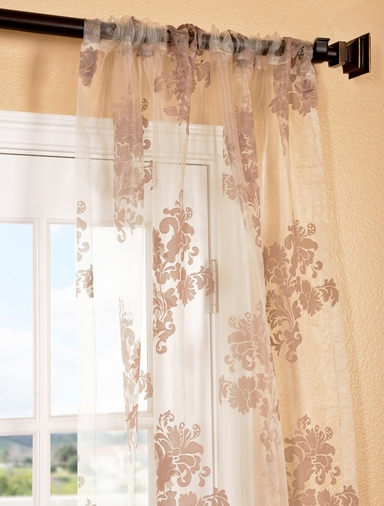 Francesca Taupe Patterned Sheer Curtain