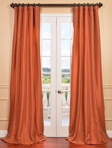 DEAL BUSTER: 2-1 Harvest Orange Faux Silk Taffeta Curtain