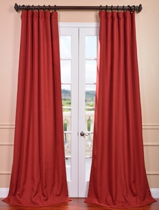 DEAL BUSTER: 2-1 Heirloom Red Heavy Faux Linen Curtain