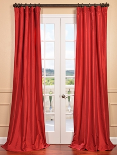 DEAL BUSTER: 2-1 Hollywood Red Faux Silk Taffeta Curtain