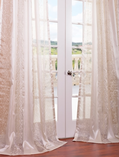 Juliette Ivory Embroidered Sheer Curtain