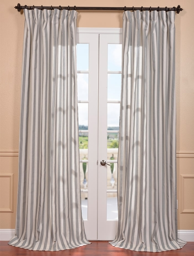 DEAL BUSTER: 2-1 Key West Gray Linen Blend Stripe Curtain