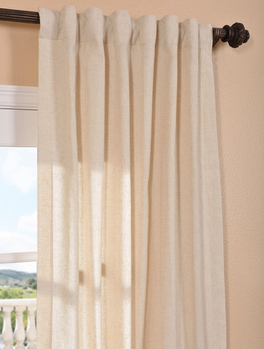 Lanai Natural Linen Blend Stripe Curtain