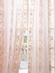2-1 Lunetta Taupe Gold Embroidered Sheer Curtain