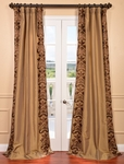 Lyon Bronze Embroidered Faux Silk Curtain