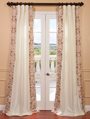 Lyon Cr�me Embroidered Faux Silk Curtain