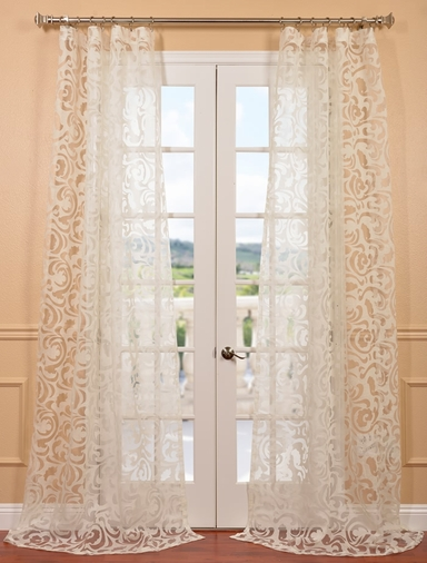 DEAL BUSTER: 2-1 Margo Ivory Patterned Sheer Curtain