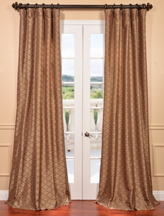 Morracco Bronze Embroidered Faux Silk Curtain