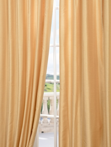 Parchment Yarn Dyed Faux Dupioni Silk Curtain