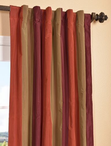 Roxbury Faux Silk Taffeta Stripe Curtain
