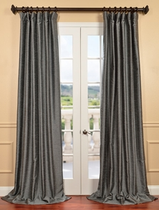 Salt and Pepper Yarn Dyed Faux Dupioni Silk Curtain