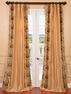 St. Tropez Gold Embroidered Faux Silk Curtain