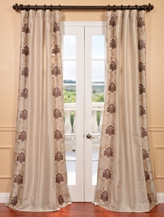 St. Tropez Stone Embroidered Faux Silk Curtain