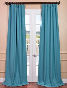 DEAL BUSTER: 2-1Teal Ivy Heavy Faux Linen Curtain