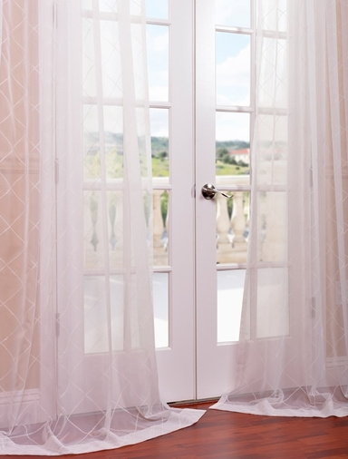Vita Off White Embroidered Sheer Curtain
