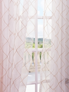Vita Taupe Gold Embroidered Sheer Curtain