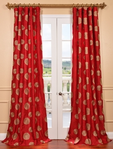 Zen Garden Tango Embroidered Faux Silk Curtain