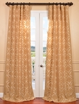 Parisian Tan Flocked Faux Silk Curtain