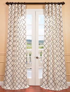 Pavillion Pearl Flocked Faux Silk Curtain
