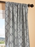 Pavillion Silver Flocked Faux Silk Curtain