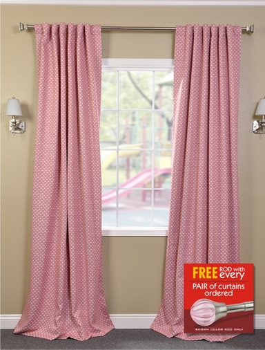2-1 Peach Polka Dot Blackout Curtain 50 x 96, 108, 120 + FREE ROD SET