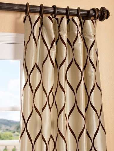 Piscean Bone Flocked Faux Silk Curtain
