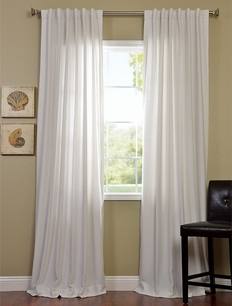 2-1 Polar White Cotenza Pole Pocket With Back-Tabs Curtain