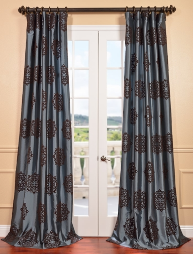 Pompeii Blue Flocked Faux Silk Curtain