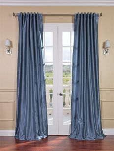 Provencial Blue Vintage Textured Faux Dupioni Silk Curtain