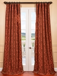 Renaissance Paprika Flocked Faux Silk Curtain