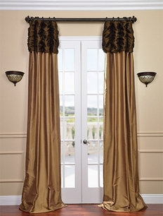 Ruched Thai Silk Curtain - Chocolate Brown Header & Brown Gold Panel