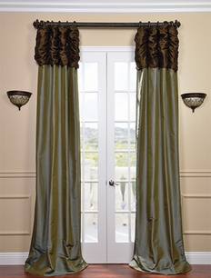 Ruched Thai Silk Curtain - Chocolate Brown Header & Sea Blue Panel